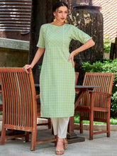 Load image into Gallery viewer, Green Cotton Kurta