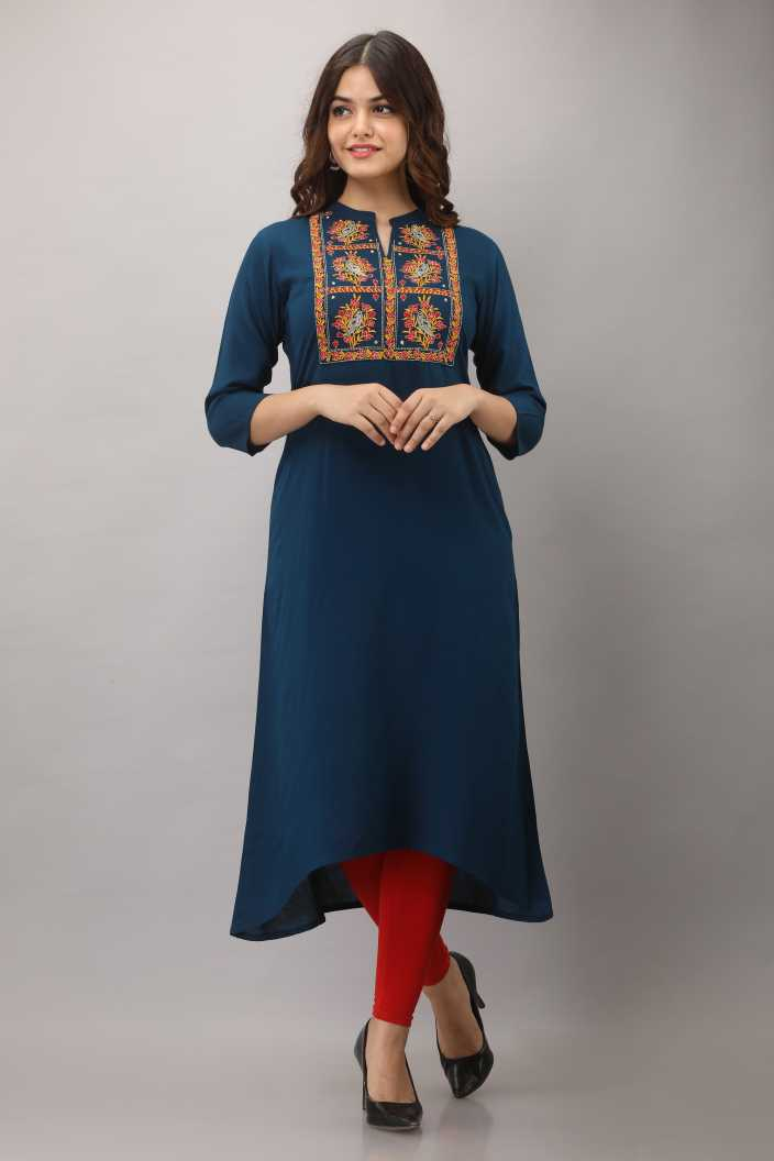 Women Embroidered Rayon Trail Cut Kurta (Blue)