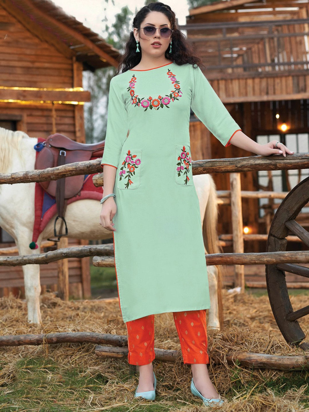 Light Green Kurta with Printed Pants
