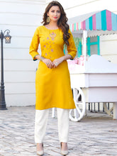 Load image into Gallery viewer, Yellow Side Slit Cotton Kurta