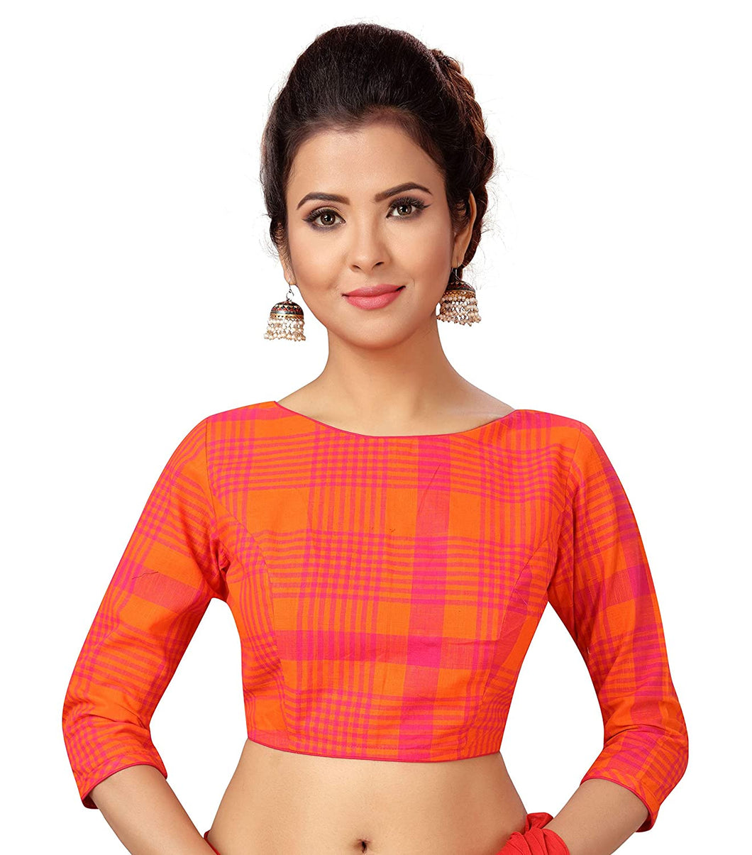 Women's Pure Cotton Chennai Checks Saree Blouse