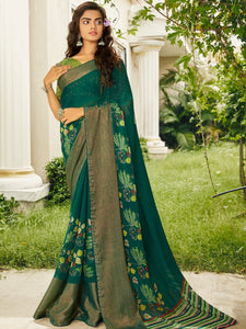 Bottle Green Chiffon Brasso Printed Saree