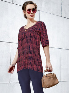 Navy Blue & Red Rayon Printed Top