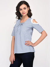 Load image into Gallery viewer, Blue V Neck Cold Shoulder Cotton Top