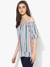 Load image into Gallery viewer, Red Orange Multicolor Cold Shoulder Top With Strap