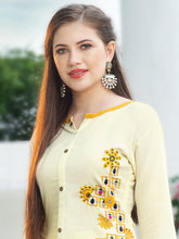 Load image into Gallery viewer, Cream & Yellow Rayon Kurta with Palazzo