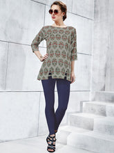 Load image into Gallery viewer, Grey Rayon Printed Top