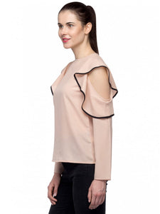 Beige Cold Shoulder Top With Ruffles