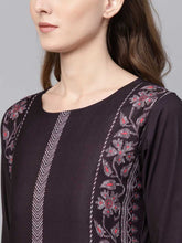 Load image into Gallery viewer, Women Printed Crepe Straight Kurta (Purple)