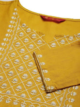 Load image into Gallery viewer, Women Embroidered Cotton Blend Straight Kurta (Yellow)