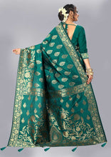 Load image into Gallery viewer, Self Design, Paisley, Woven, Embellished Kanjivaram Jacquard Saree (Light Blue)