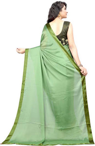 Solid Fashion Silk Blend Saree (Green)