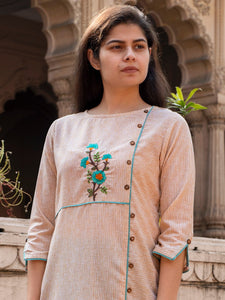 Brown Embroidery Kurta with Pants