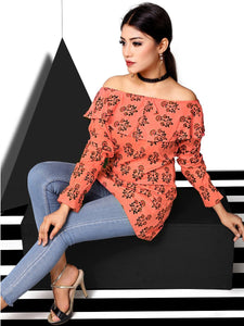 Rola Crazy Orange Rayon Cotton Off Shoulder Printed Top