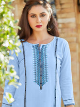 Load image into Gallery viewer, Sky Blue Rayon Kurta with Palazzo