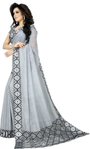 Solid Daily Wear Cotton Silk Saree (Grey)