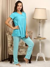 Load image into Gallery viewer, Pool Green Maternity PJ Set