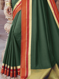Satin Silk Saree with Printed Blouse