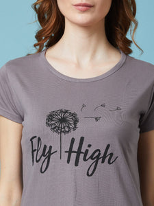 Grey Fly High Printed Short Nighty