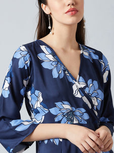 Navy Blue Floral Printed Jumpsuit