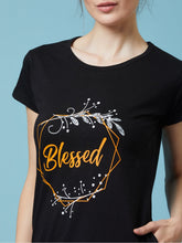 Load image into Gallery viewer, Black Blessed Printed Short Nighty
