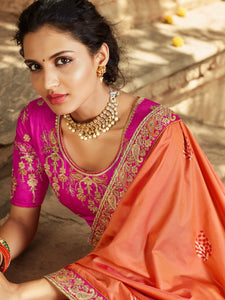 Orange Embroidered Saree