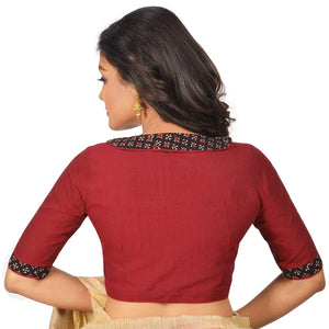 Women's Cotton Stitched Blouse (Maroon)