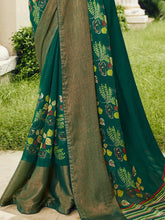 Load image into Gallery viewer, Bottle Green Chiffon Brasso Printed Saree