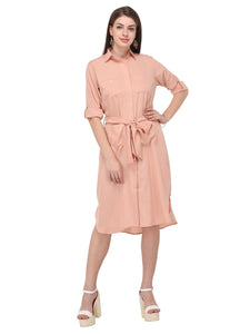 Peach Shirt Dress