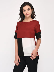 Red & Black Color Block Top