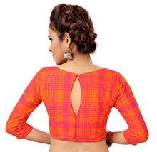 Load image into Gallery viewer, Women's Pure Cotton Chennai Checks Saree Blouse