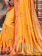 Load image into Gallery viewer, Orange Foil Print Saree