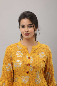 Women Printed Rayon Gown Kurta (Yellow)