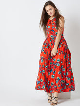 Load image into Gallery viewer, Orange Printed Maxi Dress