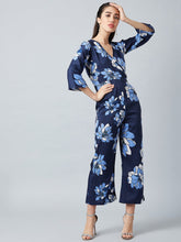 Load image into Gallery viewer, Navy Blue Floral Printed Jumpsuit