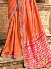 Load image into Gallery viewer, Orange Embroidered Saree