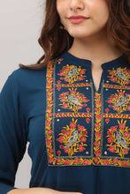 Load image into Gallery viewer, Women Embroidered Rayon Trail Cut Kurta (Blue)
