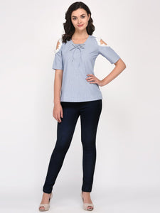 Blue V Neck Cold Shoulder Cotton Top