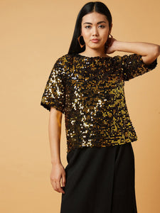 Dual Color Sequined Top