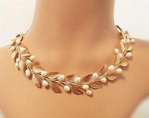 Pearl Leaf Necklace Gold Bridal