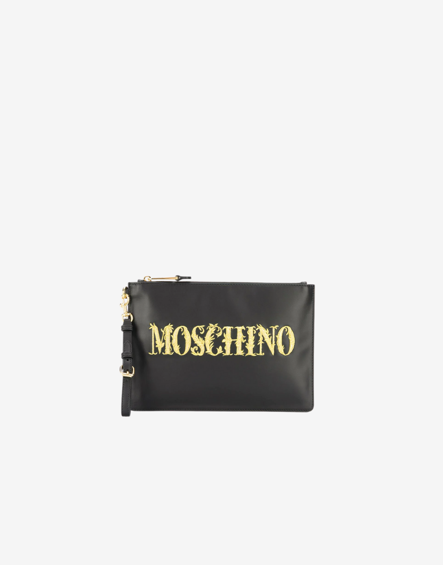 Leather Gold Embroidery Logo Clutch