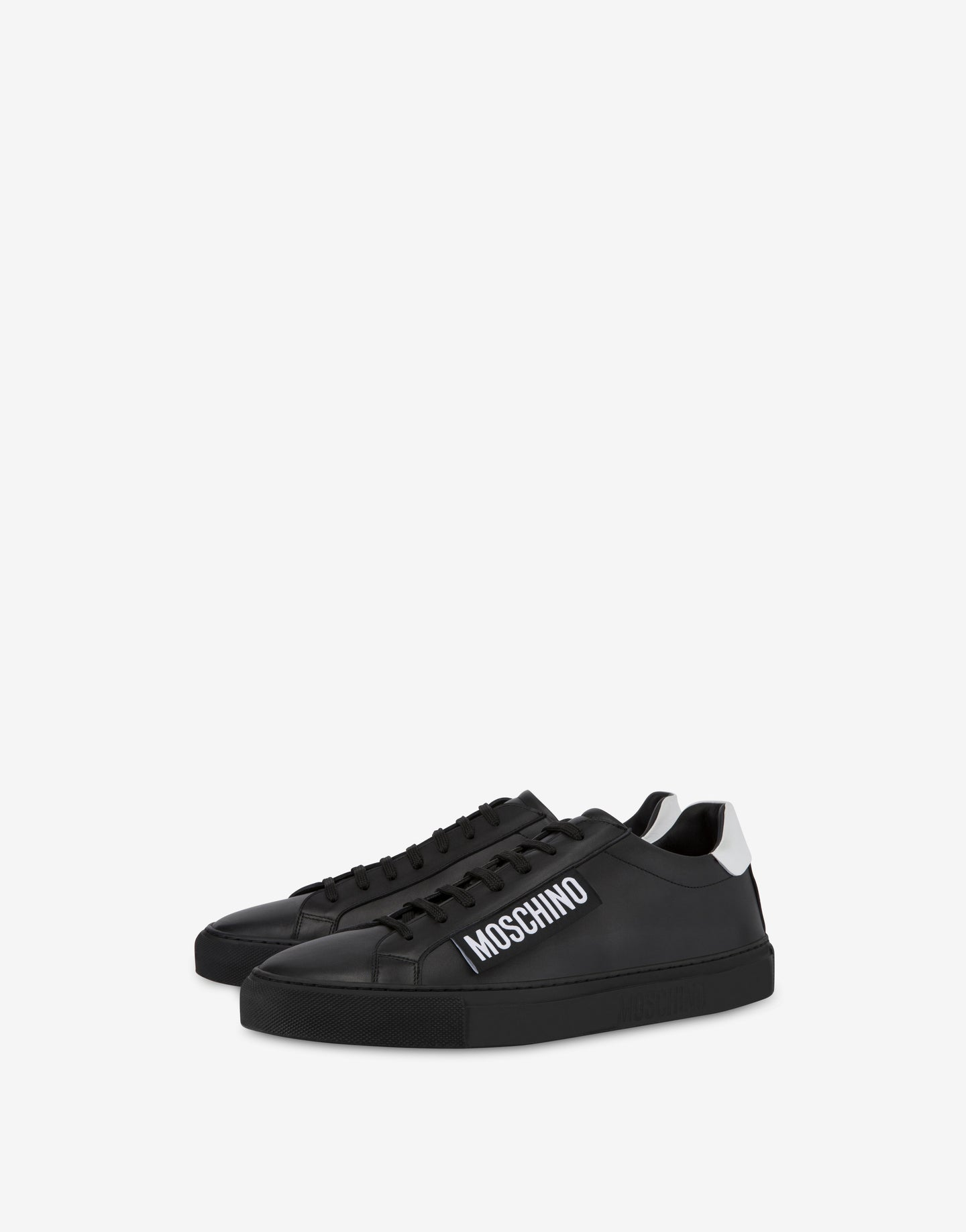 Moschino Label Calfskin Sneakers