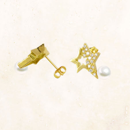 18K Gold Double Star Earrings