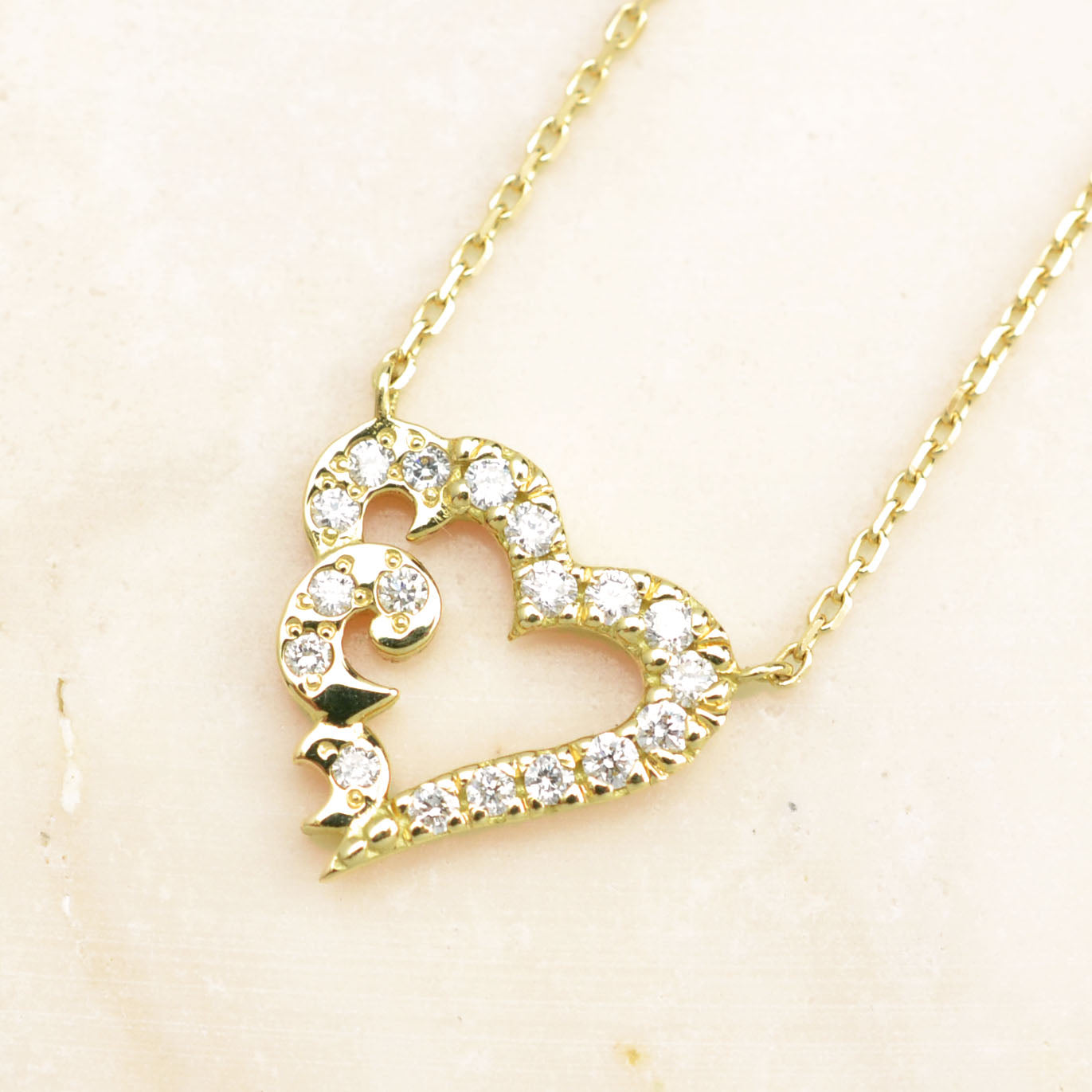 18K Yellow Gold Eternal Heart Diamond Necklace