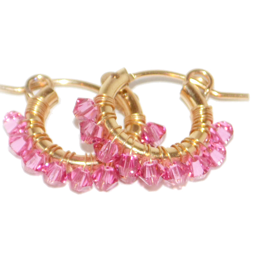 Crystal Wrapped Hoops S (Pink)