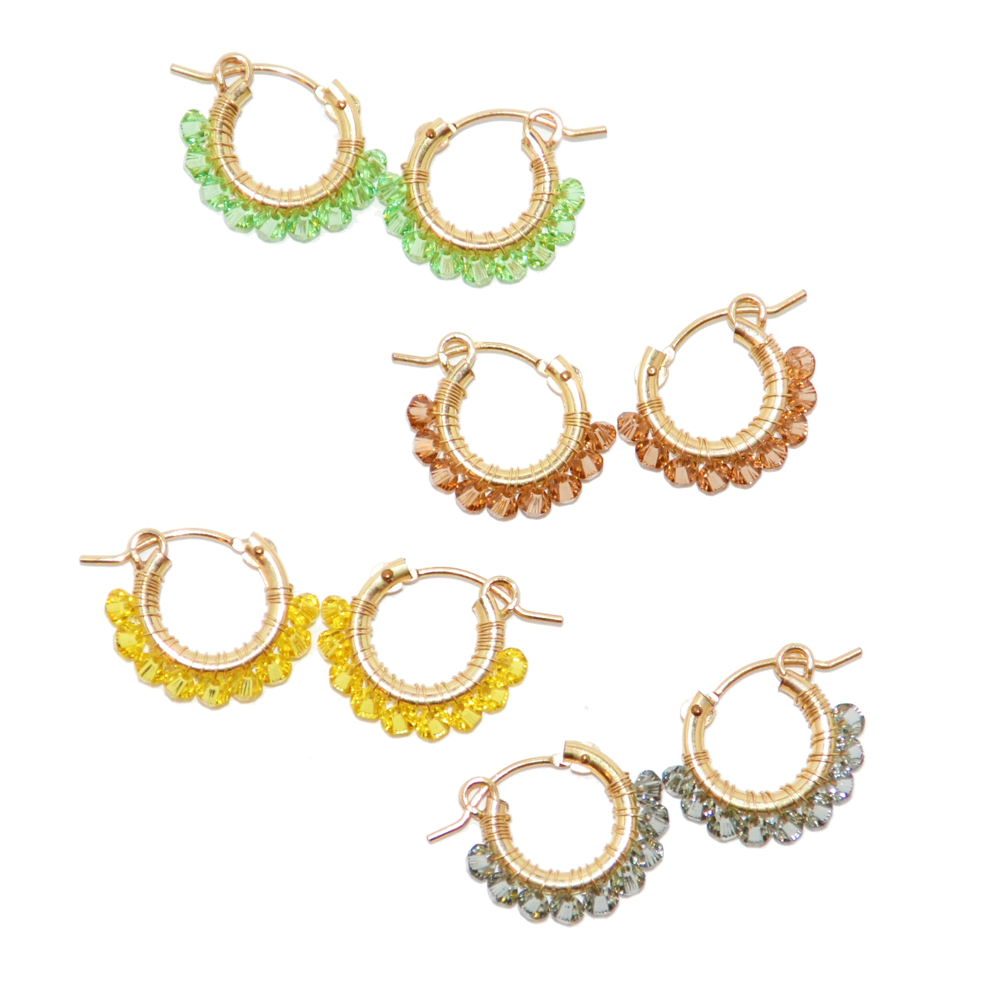 Crystal Wrapped Hoops S (Green)