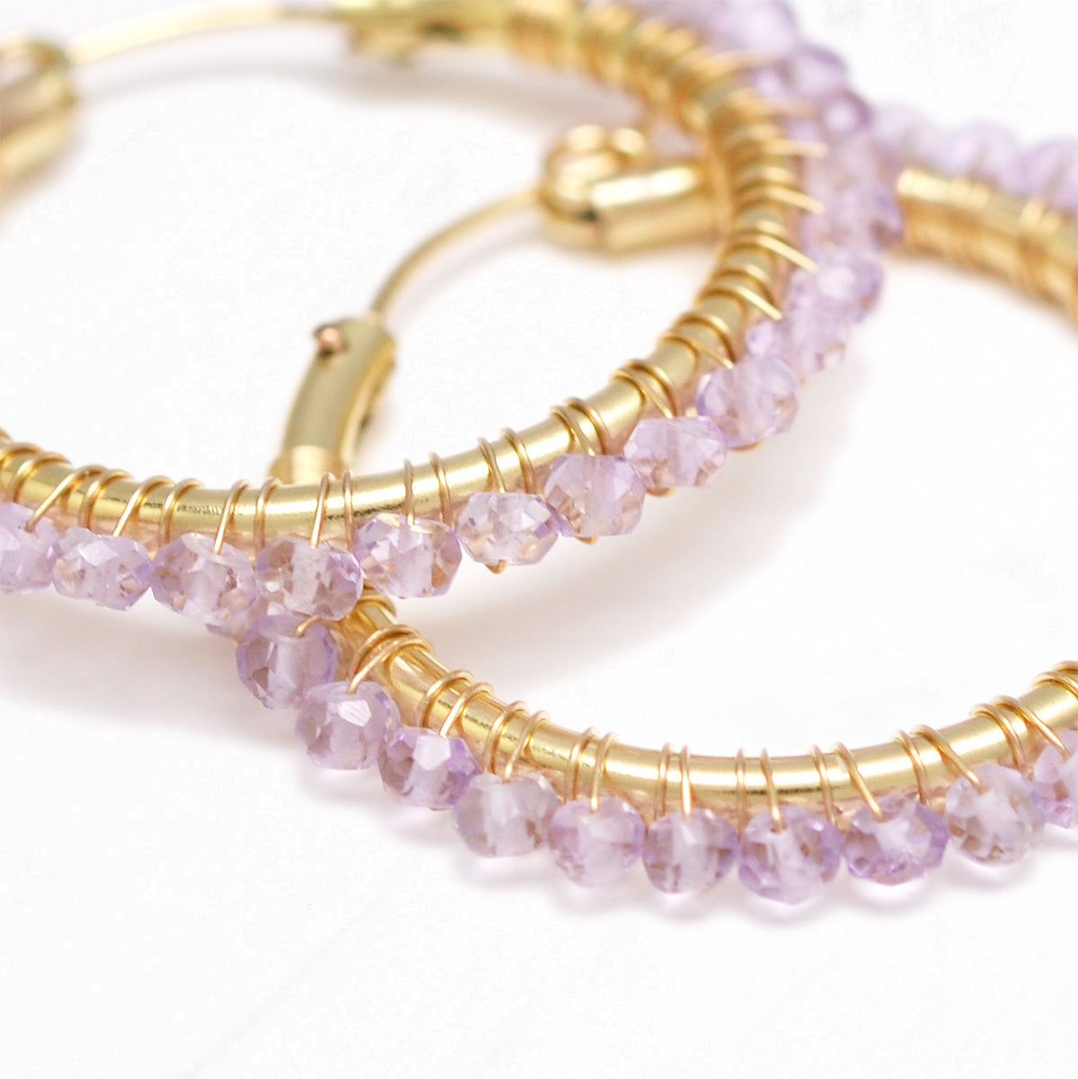 Pink Amethyst Wrapped Hoops M