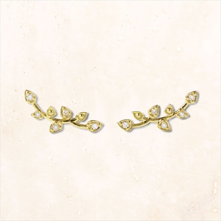 18K Gold Diamond Twig Leaves Earrings