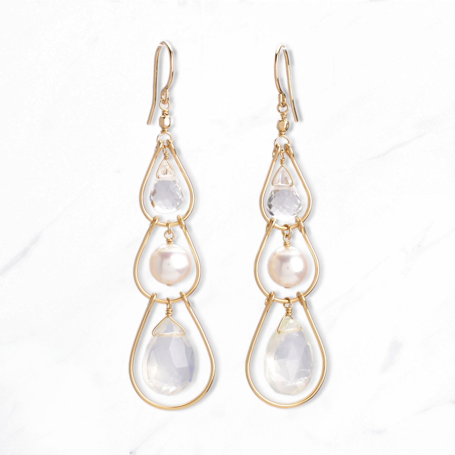 Gemstone & Pearl Triple Layer Earrings