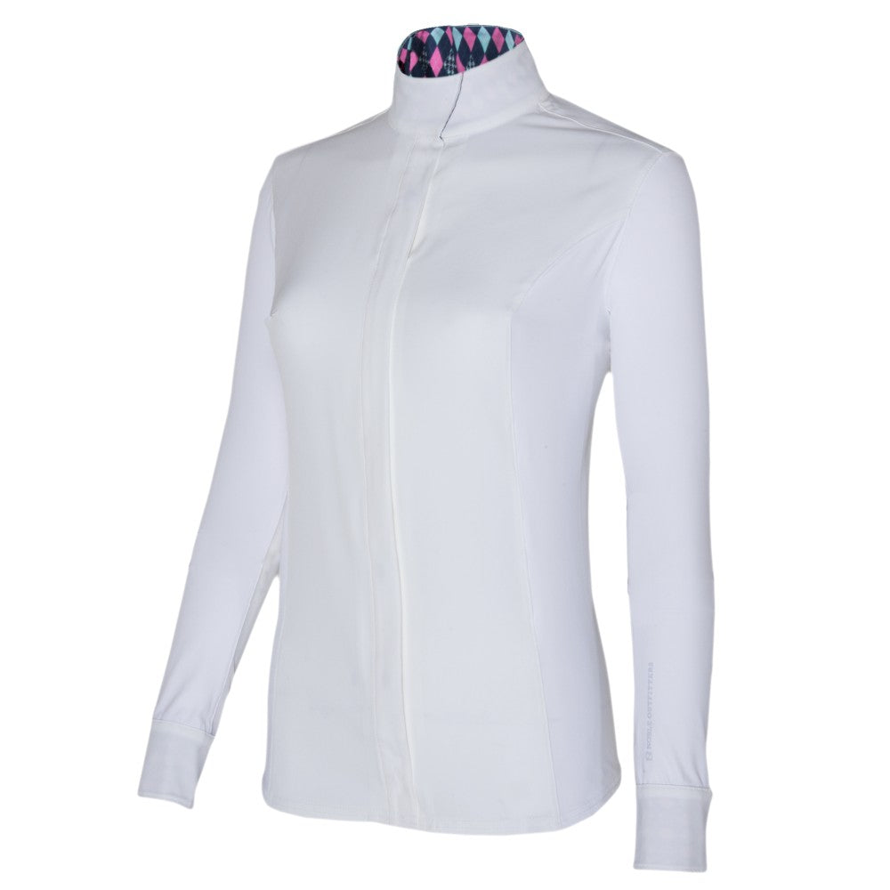 Noble Equestrian Catherine L/S Show Shirt White/French Pink | Country Ways